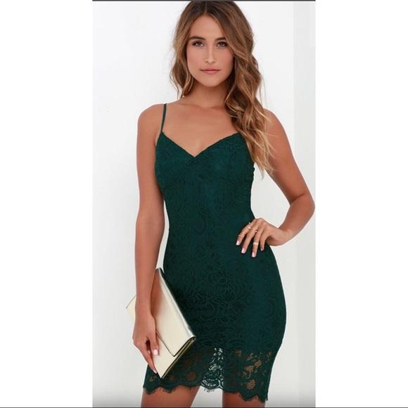862d717468 Lulu s Dresses   Skirts - LuLus DARK GREEN LACE BODYCON DRESS